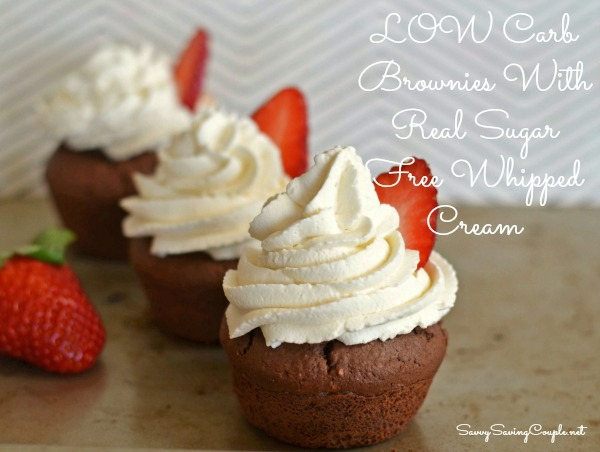 Thumbnail for Low Carb Brownie Cupcakes Topped With Sugar-Free Real Whipped Cream