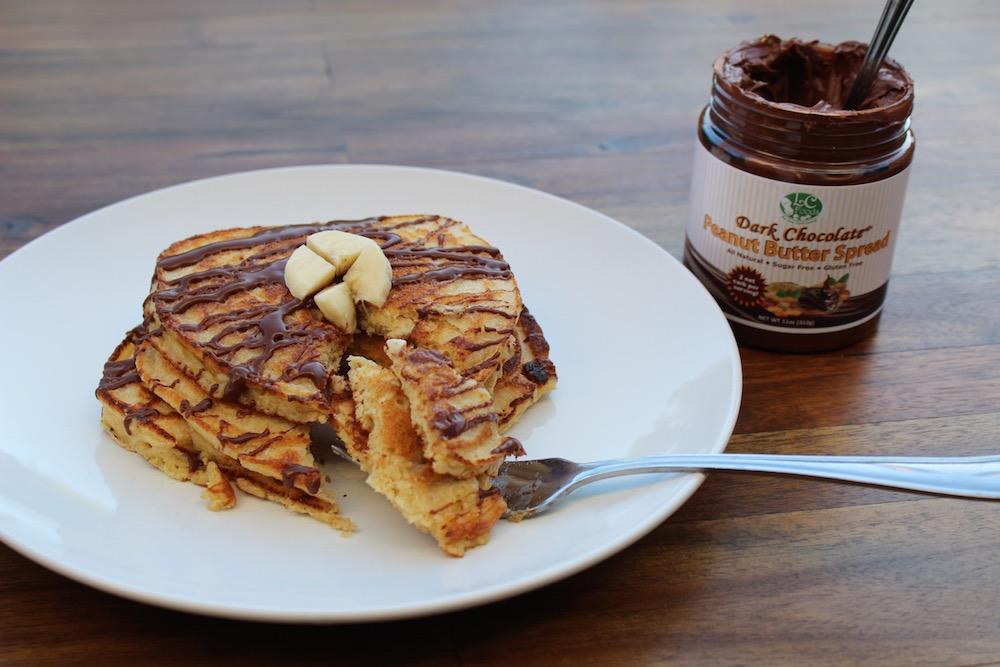 Thumbnail for Low Carb Dark Chocolate Peanut Butter Banana Pancakes