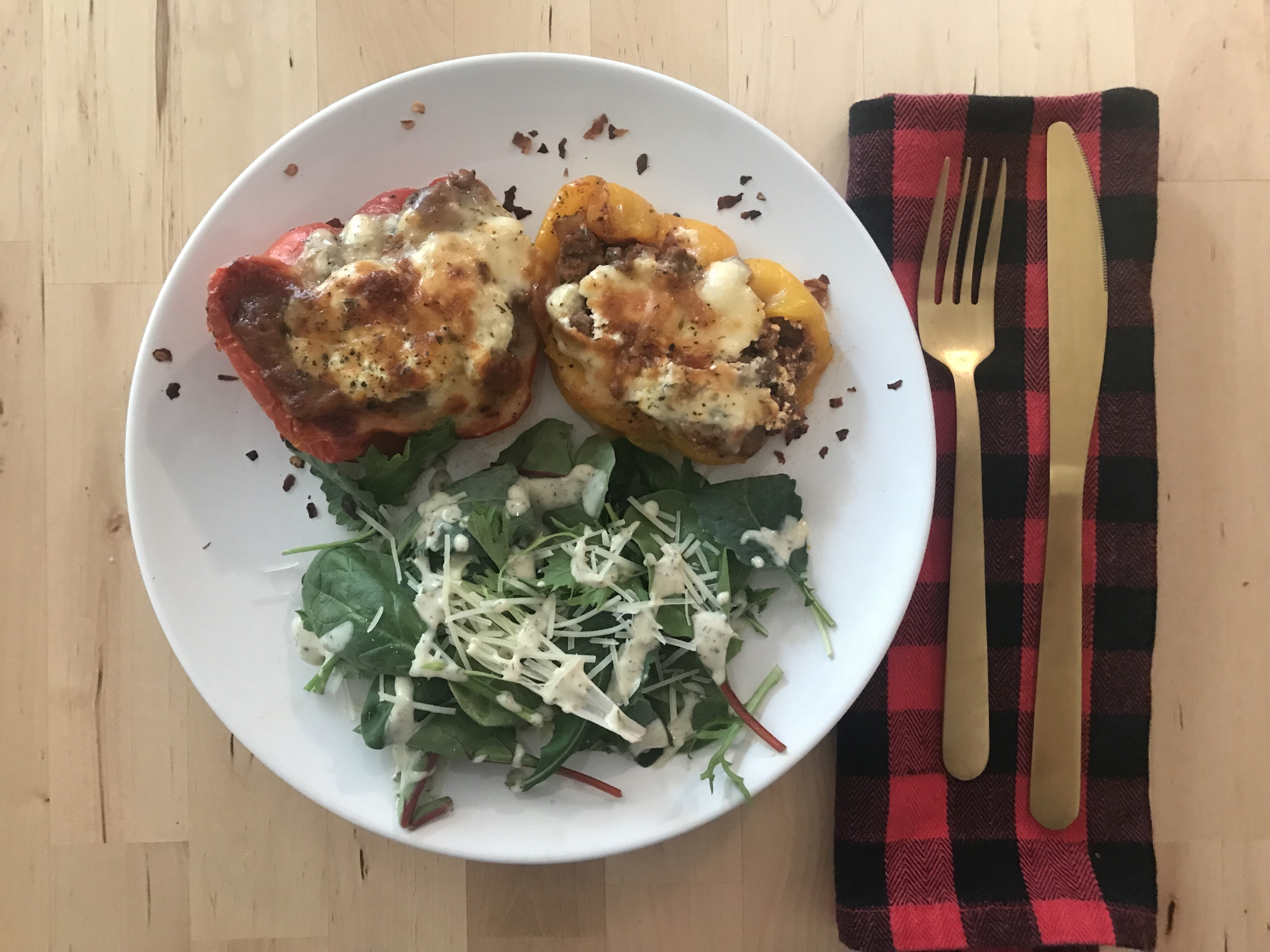 Thumbnail for Low Carb Lasagna Stuffed Peppers