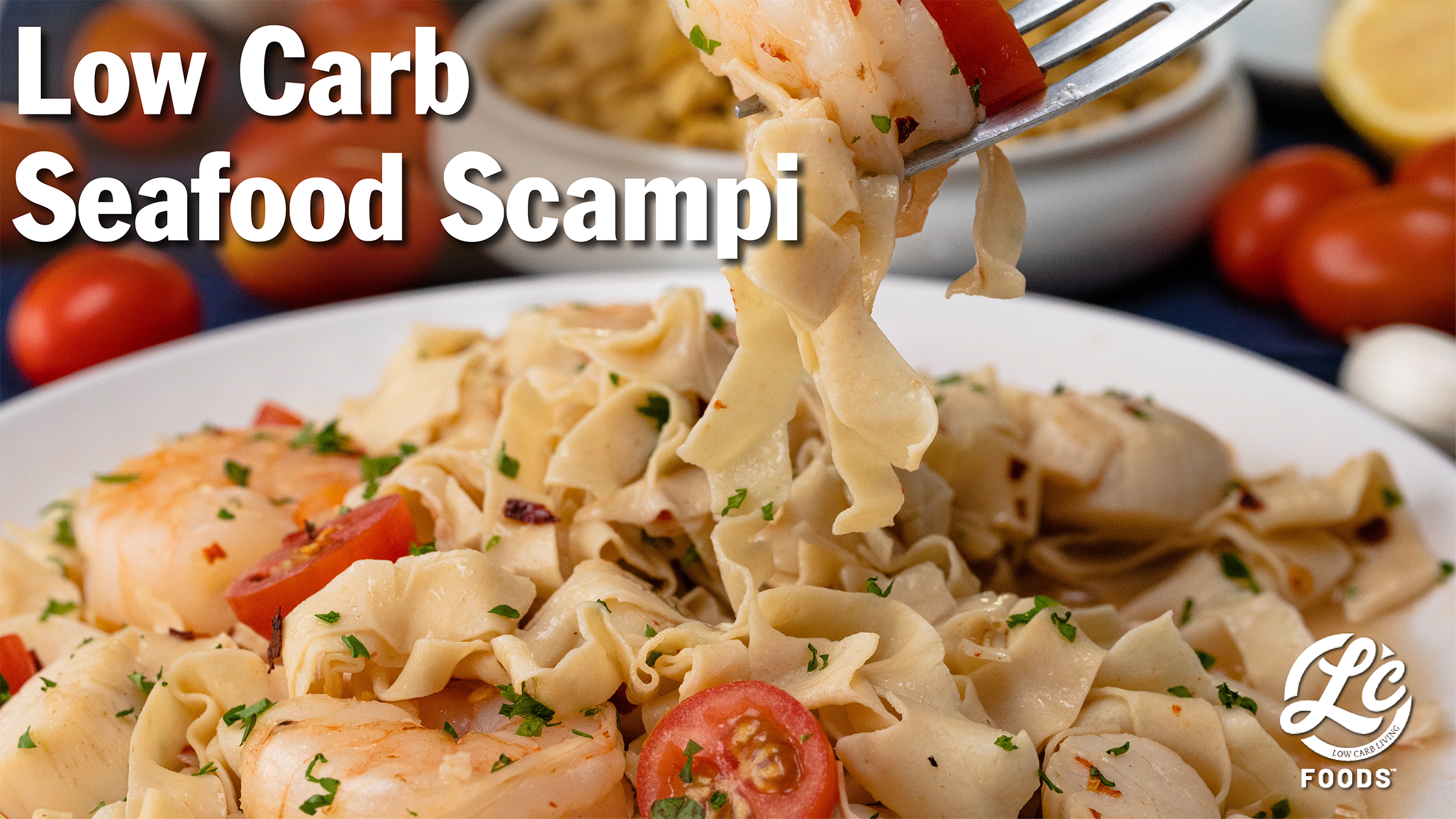 Thumbnail for Seafood Scampi with Low Carb Egg Noodles Pasta