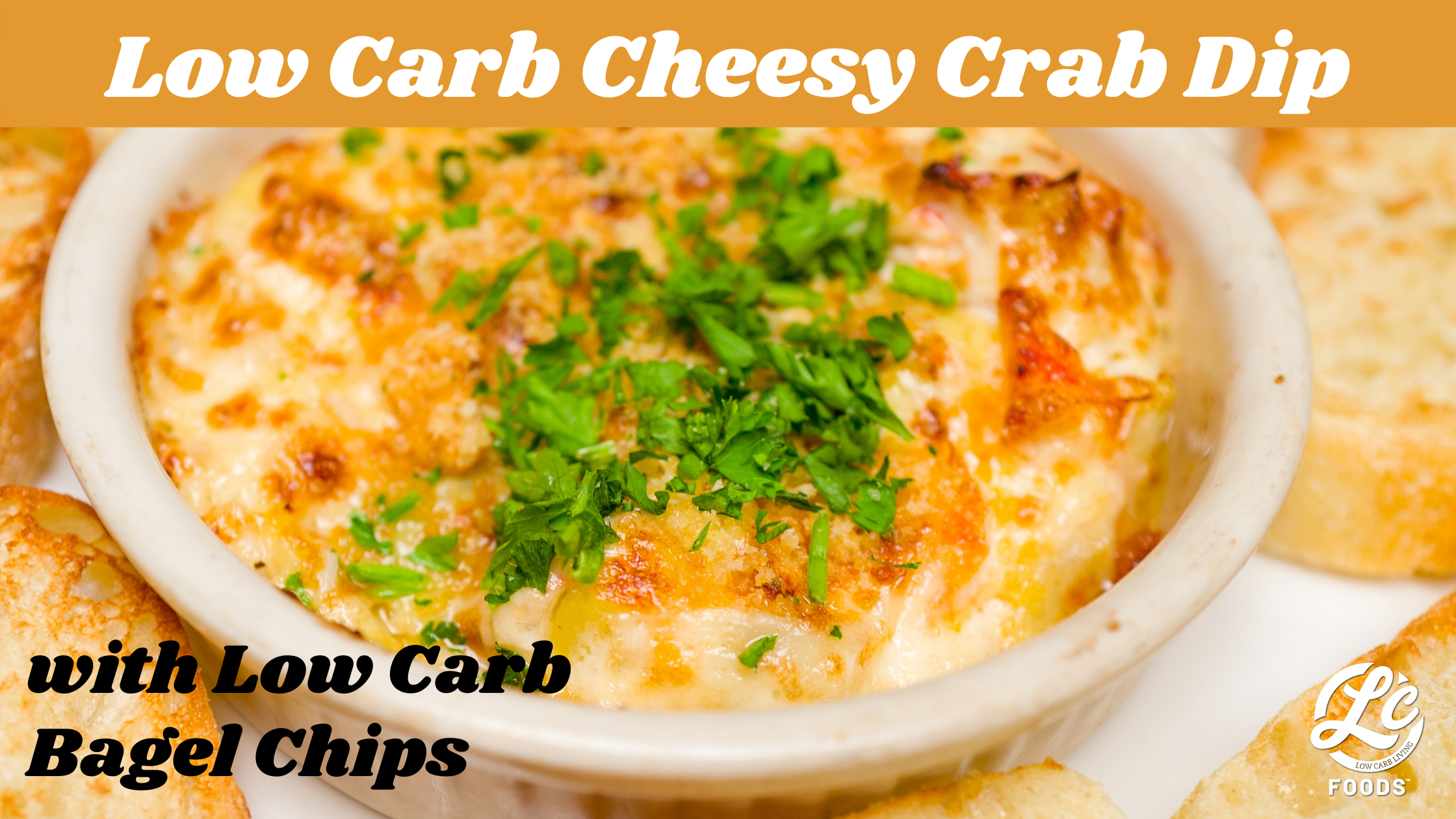 Thumbnail for Low Carb Cheesy Crab Dip with Bagel Chips