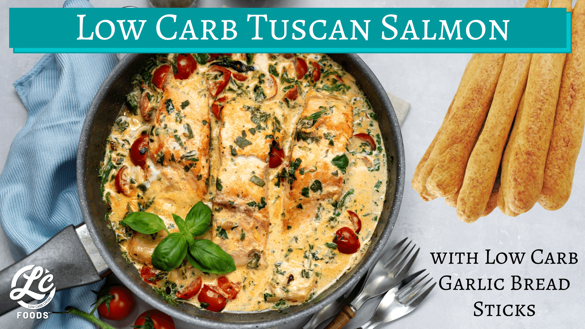 Thumbnail for Low Carb Tuscan Salmon with Low Carb Garlic Bread Sticks
